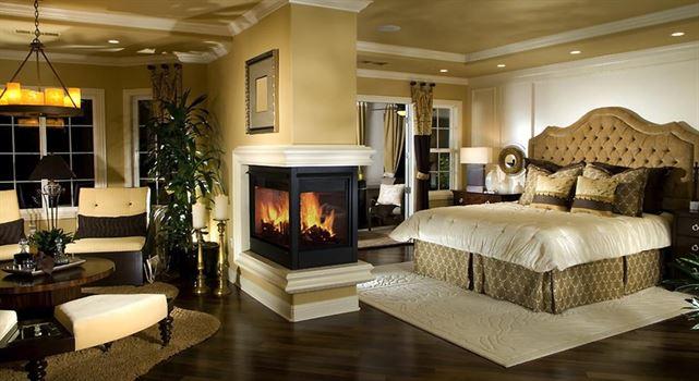 lüks ev dekorasyonu, lüks iç mekan tasarımı, lüks yatak odası, şömine, şömine ev dekorasyon